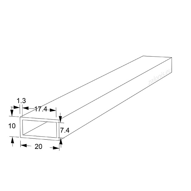 RECTANGLE ALUMINUM PROFILE 20x10 ANODIZED